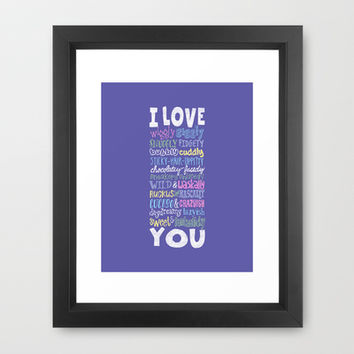 Wiggly Giggly You - Love poem to a child in whimsical lettering (purple) Framed Art Print by Rockin'Chalk