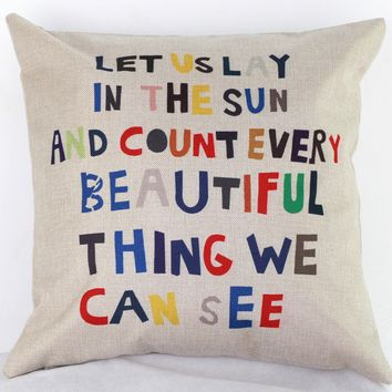 Quotes Throw Pillow Case Cushion Cover Home Sofa Decorative