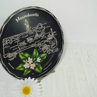 Retro Massachusetts Souvenir Tray - Vintage Round Black Metal with State of Massachusetts Tourism Vacation Spots in Gold Paint & Mayflower