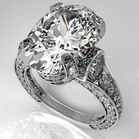 Engagement Ring - Large Oval Diamond Cathedral Graduated pave Engagement Ring 1.25 tcw. In 14K White Gold - ES745WG