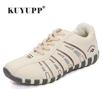 KUYUPP Fashion Breathable Leather Women Casual Shoes Lace Up Trainers Woman Flats Outd