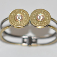 Rare Vintage Remington Peters Double 12 Gauge Shotgun Shell Bullet   Bracelet Swarovskl Crystal