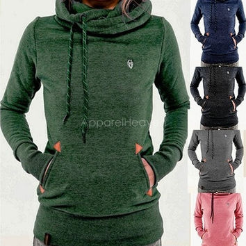 Women's Long Sleeve Heaps Collar Hooded Hoodies Draw Cord Pure Color Pocket Sport Coat Sweater Shirts S-XL [8805174087]
