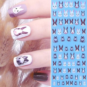 1 Sheet Rabbit Water Decal Kawaii Bunny Animal Flower Nail Art Transfer Sticker 12.8*5.5cm DIY Nail Decoration