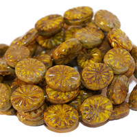 Picasso Czech Glass Beads Green Brown Oval Star Round Tablet Shape Flat Original Exclusive Authentic 14mm x 11mm 8pc
