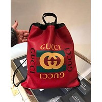 Gucci Popular Women Men Personality Leather Graffiti Pattern Shoulder Bag Daypack Backpack Red I-MYJSY-BB
