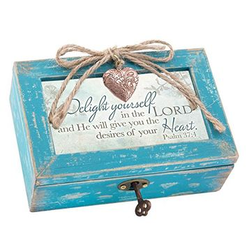 Delight Yourself in the Lord Teal Wood Locket Jewelry Music Box Plays Tune We Have a Friend in Jesus