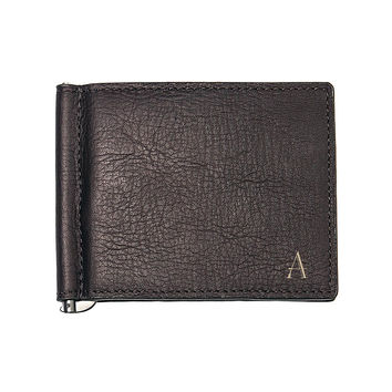 Personalized Brown Leather Wallet with Money Clip & Multi-function Tool