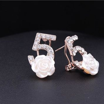 Gold CC Plated Rhinestone Number Five Rose Flower Stud Earrings