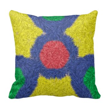 Kaleidoscope colorful furry throw pillow