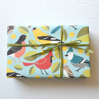 2 sheets BIRDS fine paper, 19 x 26 inches, gift wrap, wrapping paper, bookbinding, blue jay, cardinal, finch, robin