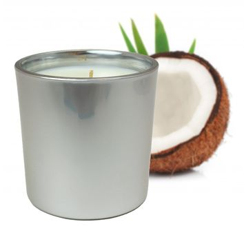 Silver Coconut and Jasmine Scented Soy Jar Candles