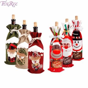1pcs Table Decorations Wine Bottle Cover Ornament Wedding Table Decorations Novelty Decoration Snowman Santa Clause Lovely Hug Dust Covers