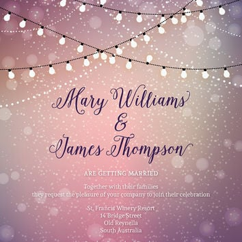 Twinkle Lights Wedding Invitations - Printable Invites - Outdoor wedding - Fairy lights - Light bulbs