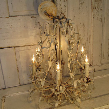 Large birdcage chandelier vintage shabby farmhouse ceiling fixture painted white heavily distressed rusty lighting decor anita spero design