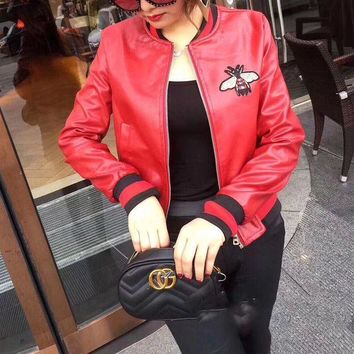 ESBON Gucci' Women Fashion Bee Embroidery Multicolor Long Sleeve Zip Cardigan  PU Leather Clothes Jacket Coat