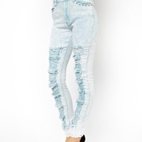 Evil Twin Thrashed Jeans In Acid Wash