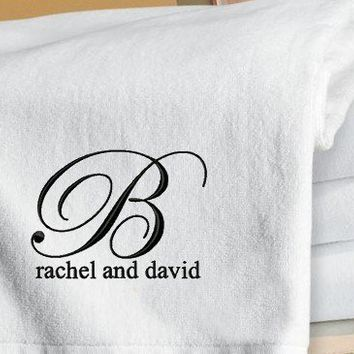 Set of 2 Monogrammed Beach Towels Honeymoon / Wedding Gift