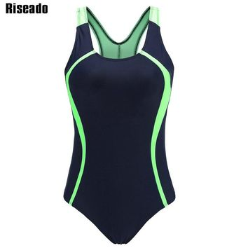 Riseado 2018 New One Piece Swimsuit Sport Swimming Suits for Women Competition Backless Swimwear Patchwork Bathing Suits XXL