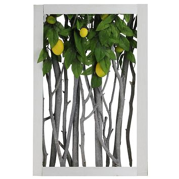 "18.5"" White Birch Branch Lemon Tree Rustic Wooden Frame Decoration"