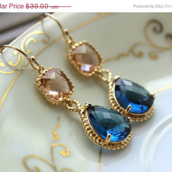 10% OFF SALE Blush Champagne Earrings Sapphire Navy Blue Gold Earrings Two Tier Peach Bridesmaid Earrings Wedding Earrings Navy Bridesmaid