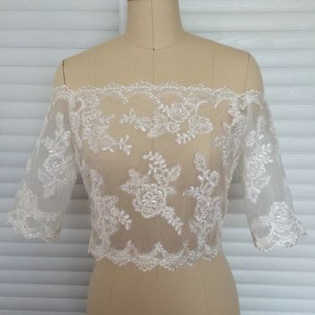 New Bridal Jacket with Buttons Back Lace Wedding Bolero Plus Size 3/4 Sleeves Applique Sequined Beads Wedding Jacket 208