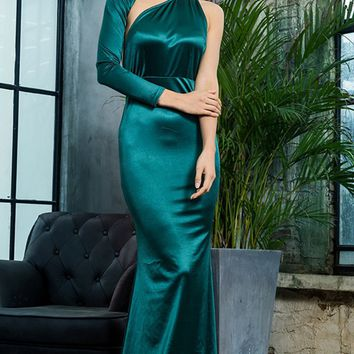 Hollywood Mystery Teal Satin One Shoulder One Long Sleeve Backless Mermaid Maxi Dress