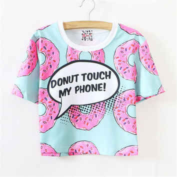 2016 New Fashion Space cotton Short Sleeve women T-shirt 3D Pink Doughnut and  Print letter T shirt  Crop tops 026