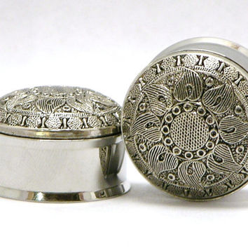 Silver Flower Tribal Style Plugs 1/2 9/16 3/4 7/8 Inch  12mm 14mm 19mm 22mm Sale