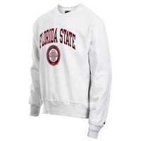 Mens Florida State Seminoles Champion Gray Reverse Weave Crew Sweatshirt
