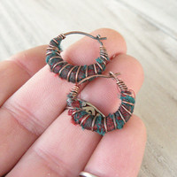 Tiny Hoop Earrings, Dark Red with Green Shimmer, Dupioni Silk Wrapped, Small Boho Hoops
