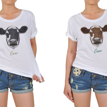 Women Portrait of Cow Graphic Printed Cotton T-shirt  WTS_12