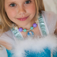 #13 Frozen Elsa Inspired Bottlecap Bubblegum Chunky Necklace