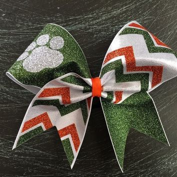 Paw cheer bow with chevron.
