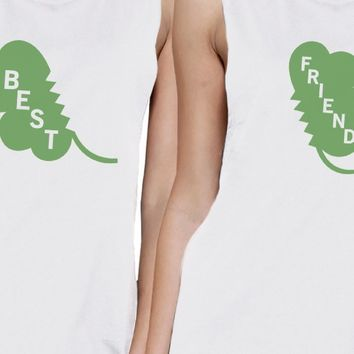 Best Friend Clover Womens White Muscle Top Funny Shirt Patricks Day