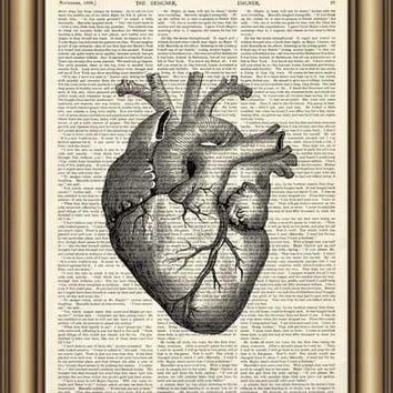 Heart Anatomy Dictionary Canvas painting wall Art Print Poster Pictures Home Decoration Vintage Book Page Print wall decor gifts