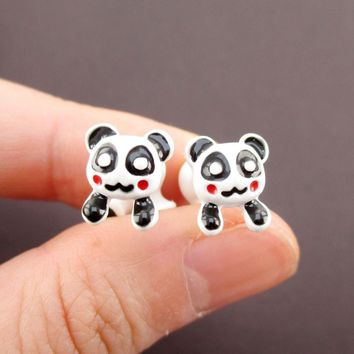 Panda Bear Shaped Two Part Front and Back Stud Earrings in Black and White
