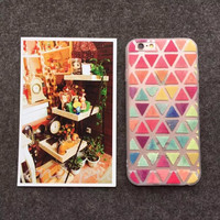 New Beautiful Candy Color Geometric Grid Style Rubber TPU Fundas Capa Phone Cases Cover For iPhone 5 5G 5S 6 6G 6S 6Plus 5.5