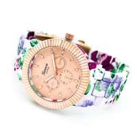 Flower print watch (2 colors)