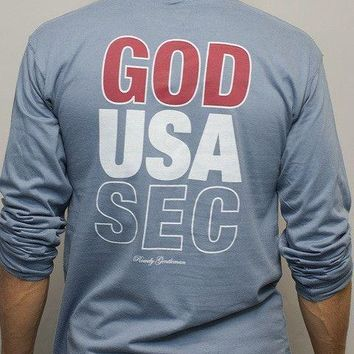 God, USA, SEC Long Sleeve Tee in Weathered Blue by Rowdy Gentleman