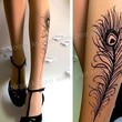 PEACOCK FEATHER TATTOO gorgeous thigh-high stockings Light Mocha