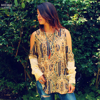 Bohemian Top Open Cold Shoulders Shirt Plus Size Cuff Sleeves Boho Hippie Upcycled Women's Clothing Recycled Eco Friendly Clothing OOAK