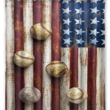 CREYU3C Popular Bath American Flag Baseball Printed Polyester Shower Curtain 60 x 72 Inch American Style Bathroom Shower Curtain
