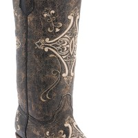 Corral® Circle G™ Ladies Chocolate Crackle w/Bone Fancy Embroidery Snip Toe Western Boots