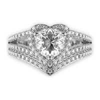 Sterling Silver 925 Cubic Zirconia CZ Heart Engagement Wedding Band Ring 2Pc Set