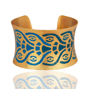 22-Karat Yellow Gold Vermeil Indian Enamel Designer Cuff Bracelet Bangle