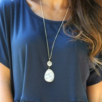 Seize The Day Necklace in Clear   Monday Dress Boutique