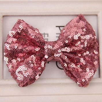 1 PC Baby Girl Kids Infant Sequin Bowknot Bow Hair Clip Hair Bow Clips Hair Pins