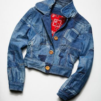 Free People Vintage 1980s Denim Patchwork Jacket