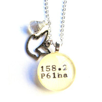 Sterling Silver Dewey Decimal Librarian Necklace with AAA Grade Faceted Quartz Drop and Tibetan Silver Dove Charm